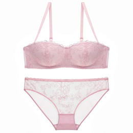 e4b9af016e Lingerie Set Women Sexy Lace Transparent Bra and Panty Flower Hollow  Embroidery Underwear Ultra-thin Half Cup Push Up 70A-85C