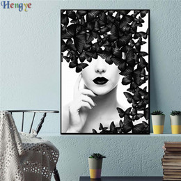 Girls Figure Size Australia - ZYXIAO Big Size Oil Painting Art black butterfly sexy girl Home Decor on Canvas Modern Wall Art No Frame Print Poster picture ys0021