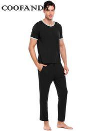 c68b11df04 O-Neck Short Sleeve Solid Slim Sleepwear Contrast Color Mens Nightwear  Pajamas Set