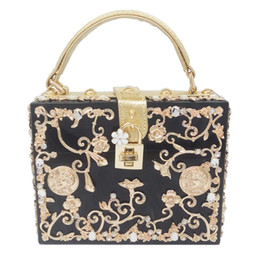 Discount case american - Light Blue Acrylic Metal Floral Appliques Crystal Women Shoulder Handbags Crossbody Bags Hard Case Trunk Ladies Box Clut