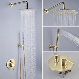 $enCountryForm.capitalKeyWord NZ - Luxury Golden Brushed Faucets Brass Rainfall Shower Head 304SUS 2-way Shower Mixer Tap Bathroom Shower 250mm Wall Mounted