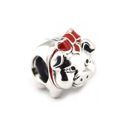Wholesale Enamel Piggy Bank Charm Beads Valentine Sterling Silver Red Bow Knot Pig Animal Bead For Women Fit Pandora Bracelet Diy Jewelry
