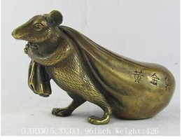 Wood Art Sculpture Australia - fortune Lucky statue mouse vases sculpture, Garden Decoration Brass