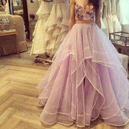 $enCountryForm.capitalKeyWord Australia - Gorgeous Evening Party Skirt Floor Length Ball Gown Skirt Tiered Organza Lavender Tulle Women Skirts Customized