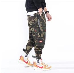 998644936c Army Print Jeans Canada - Harajuku Street wear men's Elastic waist big  pocket Hiphop cargo pants