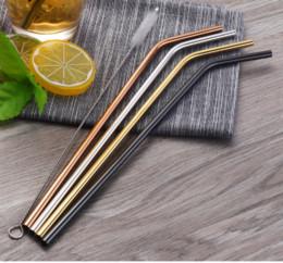$enCountryForm.capitalKeyWord NZ - 100pcs Stainless Steel Drinking Straws +Cleaner Brush Reusable Unfolded Bend Metal Straw Gold Black Kitchen