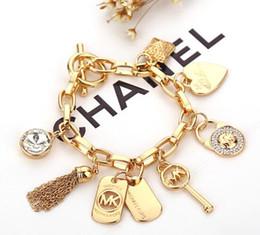 Silver chain braceletS lobSter claSpS online shopping - Alloy Key Bracelets With Love Heart Gem Sterling Silver Gold Plated Pendants Charm Bracelets Bangle Jewelry For Men Women B029