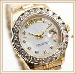 Orange Bezel Canada - Hot Sale Luxury Wristwatch Stainless Steel Bracelet President White Bigger Diamond Dial Ceramic Bezel Mechanical Men watch reloj Watches