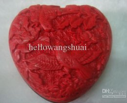 chinese red bracelet NZ - Fine Chinese Red lacquer Heart Birds Carved Jewelry box