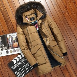 snow parkas men 2019 - Duck Down Parkas Long Coat Winter Jacket Real Raccoon Fur Hood Snow Overcoat Warm Thicken Outwear Clothes 2017 New Fashi