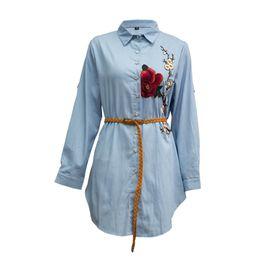 53cf2a5cc765 Plus Size Women Shirts Long Sleeve Flower Embroidered Button Down Boyfriend  Shirt Dress Irregular Blue Blouse Tops 3xl 4xl 5xl