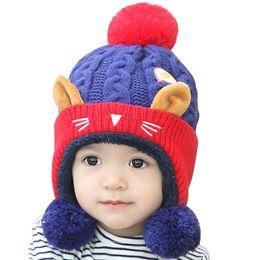 $enCountryForm.capitalKeyWord NZ - 150PCS   LOT Cartoon Knitted Hat Autumn Winter Children Kids Keep Warm Cap Age for 6-24 months