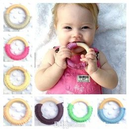 baby teeth stick 2019 - 24 Colors Baby Teething Ring Safety Environmental Friendly Baby Teether Teething Ring Wooden Teething training Child Che