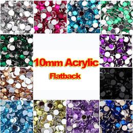 Großhandel - 10mm Klare Runde Acryl Strass Flatback Strass Kristallsteine für Kleidung Kleid fertigt Dekorationen A im Angebot