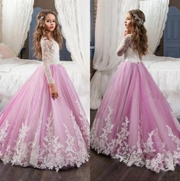 Custom elegant pageant sashes online shopping - 2018 Elegant Sheer Long Sleeves Lace A Line Flower Girl s Dresses Lace Applique Bow Sash Girl s Pageant Dresses BA4311