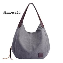 new trend handbag 2019 - Baoaili New Trend Canvas Lady Elegant Solid Appliques Shoulder Bags Hot Selling Free Shipping Casual Femme Handbag 45P d