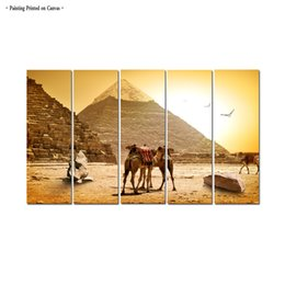 $enCountryForm.capitalKeyWord Australia - Large Contemporary Wall Art Egyptian pyramid Landscape Painting Printed Canvas Home Decor 5 Piece Painting picture Living Room Decor Aset062