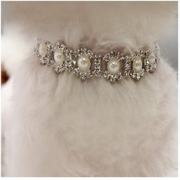 Wholesale Bling Rhinestone Pearl Necklace Dog Collar Alloy Diamond Puppy Pet Collars Leashes For Little Dogs Mascotas Dog Accessories