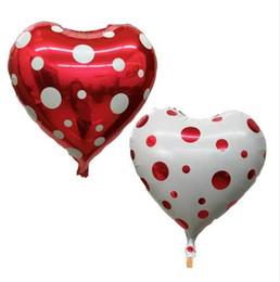 heart foil balloons NZ - 10Pieces 18Inch Heart Polka Dot Foil Balloons Wedding Party Decorations Inflatable Toys Birthday Helium Balloon Party Supplies