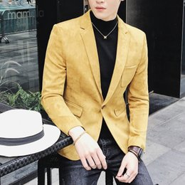 Discount long straight red hair - 2018 new men's personality red personality suede single western jacket men's casual suit hair stylist business
