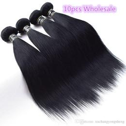 Discount hair jet black 26 inches - Wholesale 10PCS Lot Brazilian Virgin Hair Jet Black 1# Straight Human Hair Weave Top Quality Brazilian Virgin Hair Exten