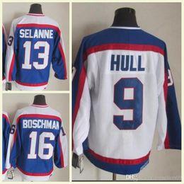 11ad14a3614 2018 Wholesale Mens NHL Jersey 16 Boschman 9 Hull 13 Selanne White Blue CCM Vintage  Hockey Jerseys 100% Stitched High Quality