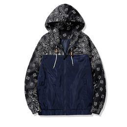 Chinese  Drop Shipping Paisley Jacket Men Bandanna Pattern Urban Coat Men's Hooded Hip Hop Jackets Street Style US Size Free Shipping manufacturers