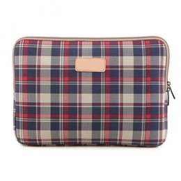 Wholesale LS Inch Laptop Bag Checked Stripe Zipped Table Sleeve Case Notebook Computer Cover For Dell HP Asus Lenovo