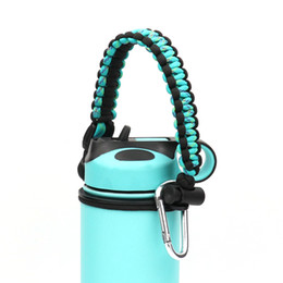 Safety cord online shopping - Paracord Handle For Wide Mouth Bottle Durable Paracord Carrier Secure Design Accessories Survival Strap Cord With Safety Ring Carabiner