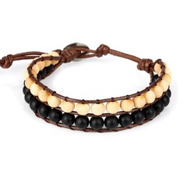 Wholesale Moories Natural Stones wood beads Bracelet Women s Bohemian Adjustable Two Rows Needlework Bracelets with Steel Buckle for Woman