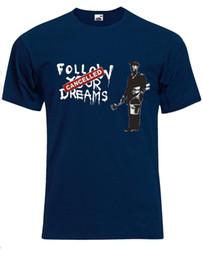 Toptan satış Bansky Hayallerini Takip Sanat De Rue T-shirt Dökmek Hommes Haut AG70 Mens 2018 moda Marka T Gömlek O-Boyun% 100% pamuk T-Shirt