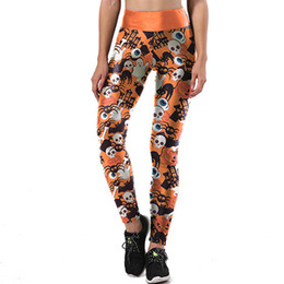 Chinese  New Women Skinny Elasticity Yoga Pants Sexy Halloween Skull Print Running Athletic Yoga Sports Pants Soft Stretch Leggings manufacturers