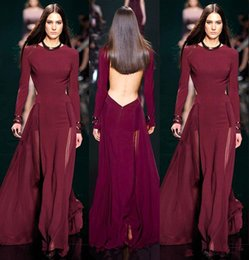 Discount elie saab nude chiffon - 2018 Elie Saab Burgundy Chiffon Long Sleeve Evening dresses Sexy jewel neck Backless See Through Skirt Long formal prom