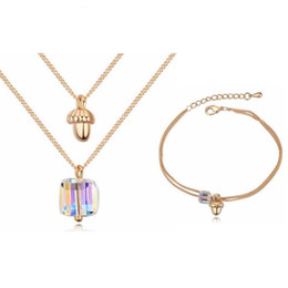 Discount casual necklaces for women - Jewelry Set for Women Fashion Crystal Bracelets Pendant Necklace Sets Woman Girl's Casual Sport Jewellery