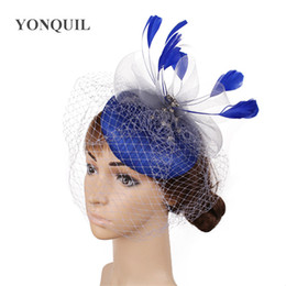 black elegant hair UK - High quality sinamay fascinators bridal wedding veils hats elegant female party tea hair accessories feather headawear on hair clips SYF444
