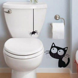 pattern decor Canada - Funny Vinyl Wall Sticker Pattern Cat and Spider Toilet Sticker Mural decals For house decoration hotel decor DD0702 15X30cm