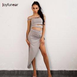 37d62f5bfc 20187 Joyfunear Irregular Split Halter Dress Solid Sexy Strapless Nightclub  Wear Dresses Fashion Lady Vintage Clothes Hot