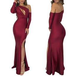 Full Length Robe Soiree UK - One Shoulder Full Sleeve Maxi Party Dresses Women Asymmetrical Red Green High Split Hollow Out Long Bodycon Dress Robe De Soiree