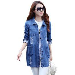 50993a49fc0 Plus Size 5XL Autumn Denim Jacket 2017 Women Basic Coats Three Quarter Slim  Cotton Light Washed Jeans Coats Casual Girls Outwear