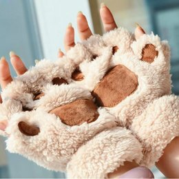 Keyboard gloves online shopping - Autumn and Winter Thick Warm Half Finger Cute Ladies Plush Student Fashion Keyboard Cat Claw Gloves