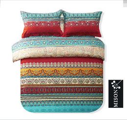 Colorful Modern Bedding NZ - Modern Folk Style Boho Bedding Set Designer Colorful Bohemian Duvet Covers Fashion European Country Style Duvet Cover Sets