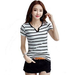 Discount striped shirts for women - Woman Clothing T-shirts for Women Summer New Women's Shirt Slim Short Sleeved Striped V-neck T-shirt Women Cotton T