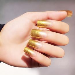 $enCountryForm.capitalKeyWord Canada - 24pcs set Pink Gold Glier False Nail Tips Full Cover Long Design Nail Art Fake Nail Stickers