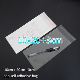 cellophane package Australia - 300pcs Clear Resealable BOPP Poly   Cellophane Bag 10x20+3cm Transparent OPP gift bags Plastic packaging bags Self Adhesive Seal