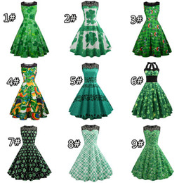 Wholesale swing color resale online – St Patrick s Day Girl Women Green Sleeveless Patchwork St Patricks Day Clover Dress Evening Party Swing Dresses A line Clubwear Designs