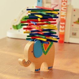 Kids Block Games Australia - 14Set Elephant Camel Building Blocks Educational animal Balancing Blocks Balance Game Montessori Blocks Baby Wooden Toy AIJILE