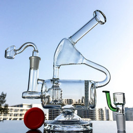 $enCountryForm.capitalKeyWord Australia - 9 inch Double Chamber Recycler Glass Bong With Honeycomb Perc Clear Water Pipe Inline Percolator Dab Rigs With 14mm Joint Recycler Rig