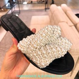 sandals slipper designing 2019 - Fashion 2018 Design Pearl Beading Women Slippers Sweet Summer Sandals Women Casual Flats Slip On Outside Slides Sandalia