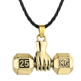 Silver Chain Weights NZ - 5pcs lot Hot Sport Fitness Weight Lifting Luck Dumbbell Pendant Necklace For Men Jewelry Antique Silver Bronze Plated Bib Torque
