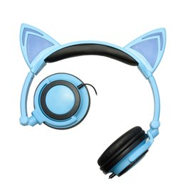 Yellow Gaming Laptop Australia - 2018 Hot Sell Foldable Flashing Glowing Cute Cat Ear Headphones Gaming Headset Earphone with LED light For PC Laptop Computer Mobile Phone